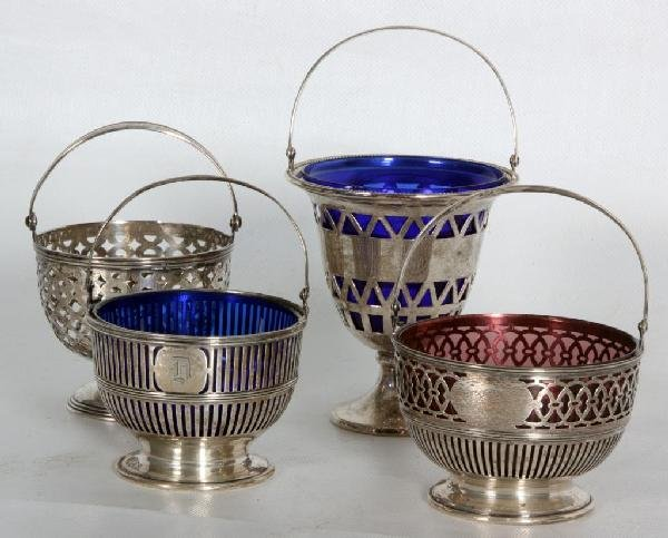 167: 4 Assorted Sterling Silver Reticulated Baskets.