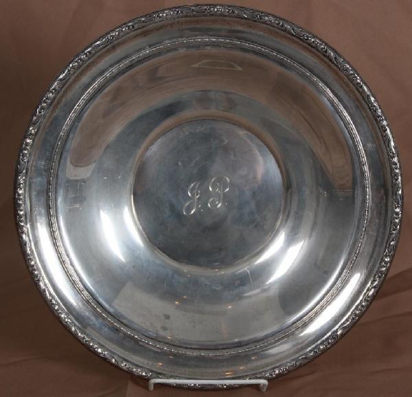 """168: Sterling Silver Serving Bowl; Monogrammed """"J.P."""""""