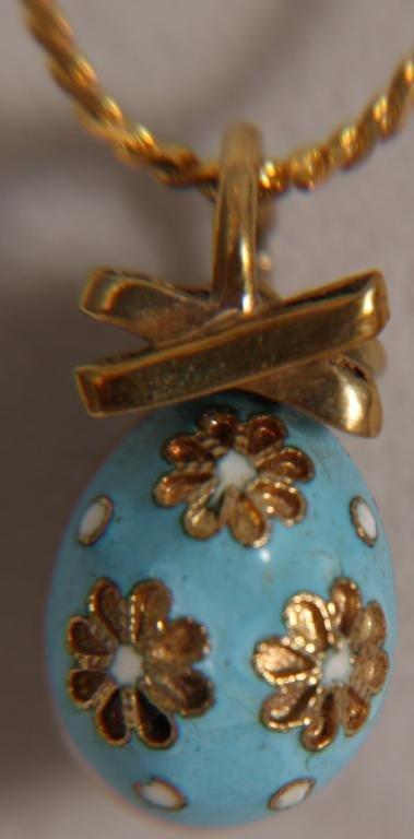 233: Faberge 14k Gold Russian Enamel Easter Egg Pendant