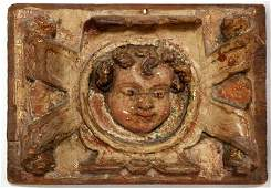 370: 18th Century Italian Carved Cherub Wall Plaque