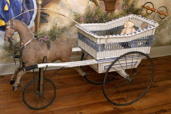 5: Mechanical Wicker Doll Horse & Buggy