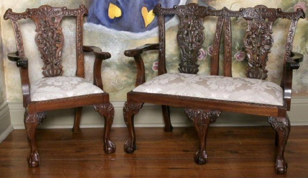 7: 2 Pc. Child's Chippendale Settee & Armchair