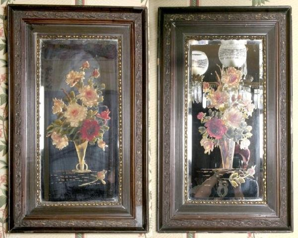 12: Pr Floral Reverse Painted Beveled Mirrors