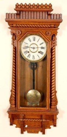 "8: Ansonia Oak ""Queen Anne"" Wall Clock Oak case (refini"