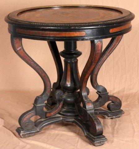 19: Ebonized & Inlaid Parlor Table Ebonized round table