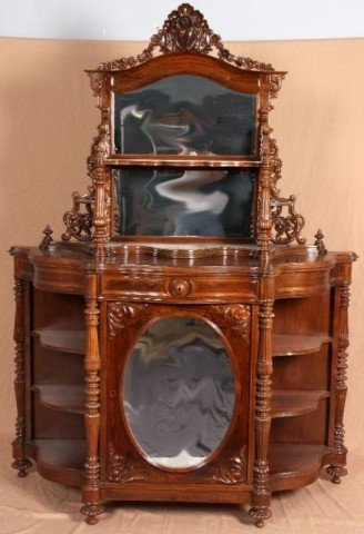20: American Rosewood Rococo Etagere Features a floral