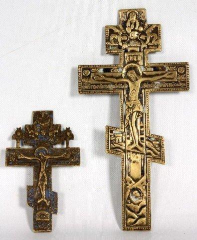 22: Two Bronze Enamel Icon Crosses Two Bronze Enamel Ic