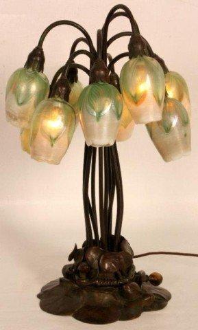 131: Tiffany 10 Light Tulip Lamp Tiffany 10 Light Tulip