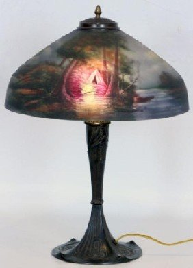 "16"" Pittsburg Lamp, Indian Encampment The Reverse"