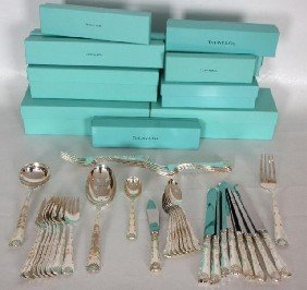 37 Pc Tiffany Sterling Flatware. Wave EdgePattern