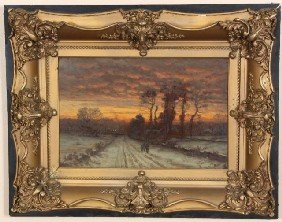 John Enneking O/B Sunset Winter Landscape John Enn