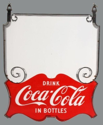 172: Large Enameled Coca-Cola Hanging Store Sign Large