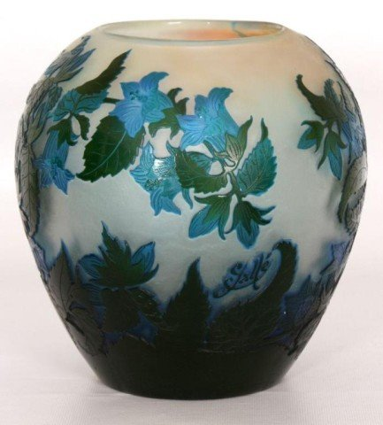 174: Galle 3 Color Floral Cameo Cut Glass Vase Galle 3