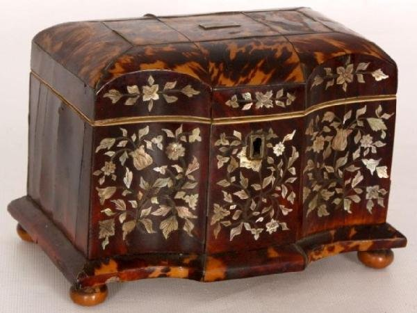 178: Boulle & Mother of Pearl Inlaid Jewelry Casket Bou