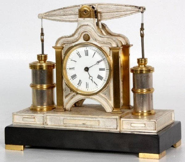 180: French Industrial Balance Beam Engine Clock Guilme
