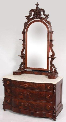 182: Mahogany Victorian Dresser with Marble Top 3 curve