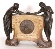 210: German Tera Cotta Figural Mantle Clock German Tera