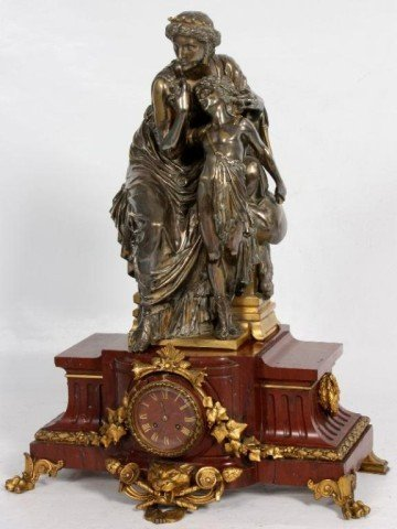 364: Large French Figural Marble & Bronze Mantle Clock