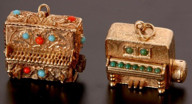 11: 2 Gold & Enameled Mechanical Charms