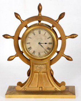 15: English Bronze Ships Wheel Clock