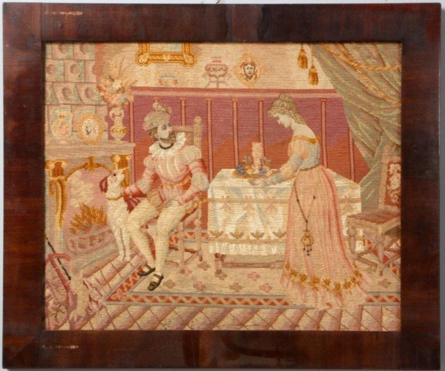 19: Needle Point Tapestry in Walnut Frame
