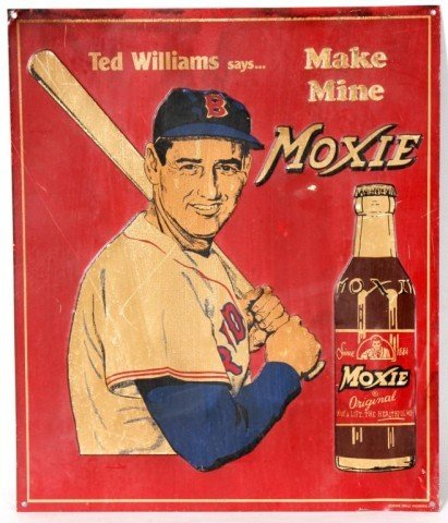 73: Vintage Ted Williams Moxie Advertising Sign