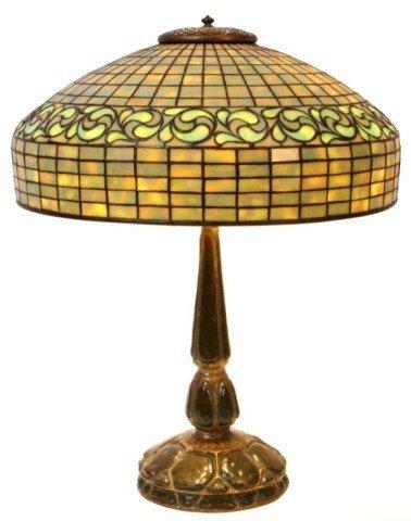 150: Tiffany Dichroic Swirling Lemon Leaf Table Lamp