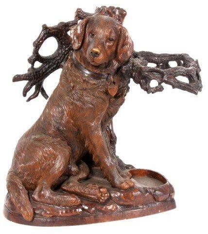 199: Large Figural Carved Dog Umbrella Stand