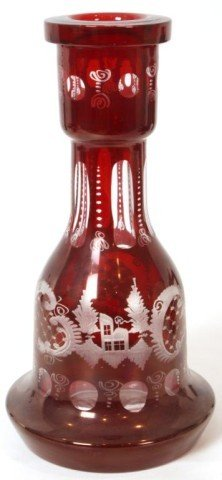 17: Cranberry Cut To Clear Bohemian Vase