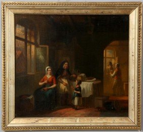Early 19th Century Flemish Painting On Panel