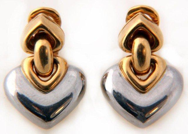 20: Pr. 18K Two Tone Gold Bvlgari Earrings