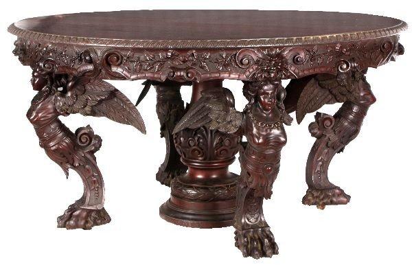 213: Monumental R.J. Horner Figural Mahogany Set