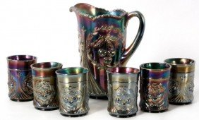 Carnival Glass Wreathed Cherry Water Set