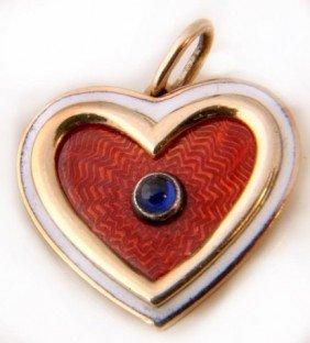 5: Russian Gold & Guilloche Heart Pendant W/ Sapphire