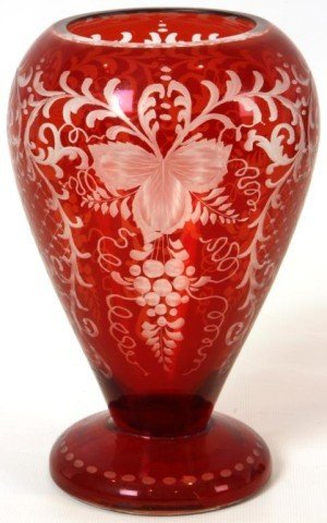 7: Venetian Cut To Cranberry Vase