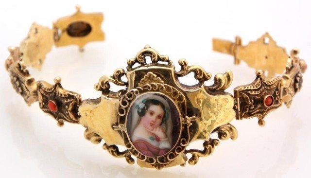8: 14K Gold Bracelet W/ Miniature Portrait & Corals