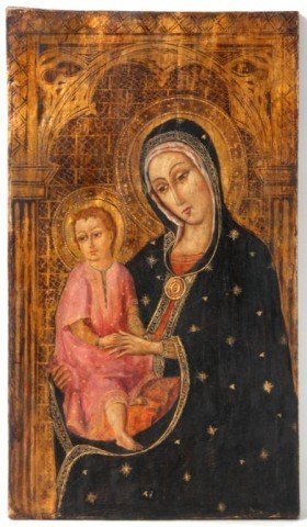 9: Early Hand Painted Icon On Wood Panel