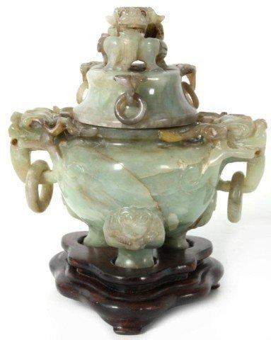 10: Carved Green Jade Incense Burner