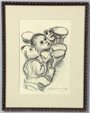 219: Kathe Kollwitz Charcoal On Paper