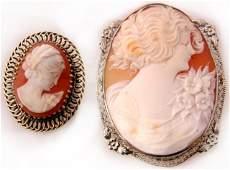 493 Pr Victorian 14K Oval Cameo Portrait Pins