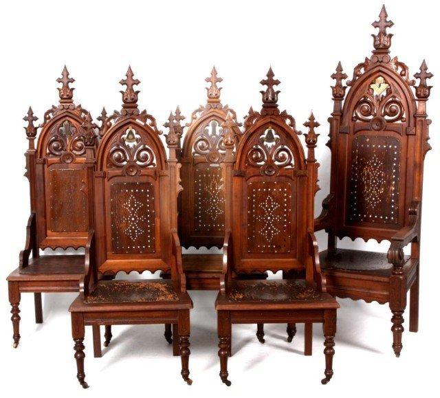 341: 5 Gothic Masonic Chairs