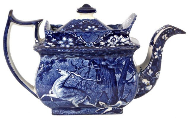 3: Blue Staffordshire Teapot