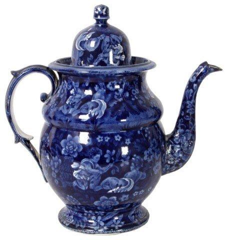 6: Blue Staffordshire Coffee Pot