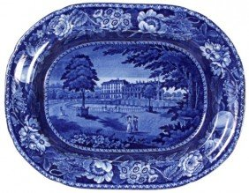 10: Flow Blue Staffordshire Platter - R. Hall