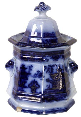 15: Flow Blue Staffordshire Sugar Bowl