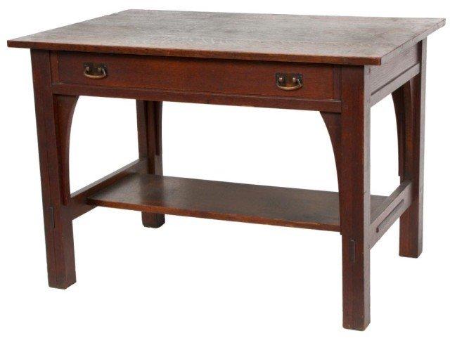 16: L & JG Stickley 1 Drawer Library Desk