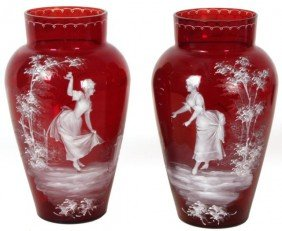 Pr Mary Gregory Cranberry And Enamel Glass Vases