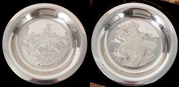 212 2 Pc Sterling Franklin Mint Plates