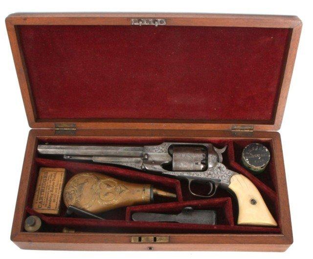 133: Cased 1858 Engraved Remington New Model
