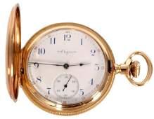 304 14K Gold Elgin Hunter Case Pocket Watch